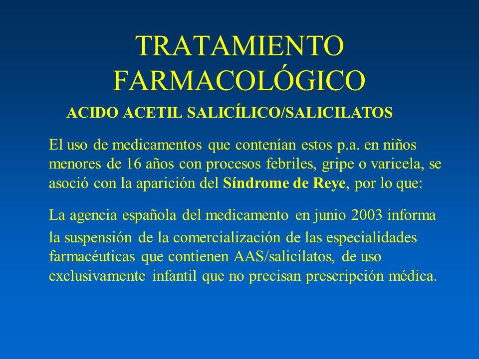TRATAMIENTO FARMACOLÓGICO ACIDO ACETIL SALICÍLICO/SALICILATOS El uso de medicamentos que contenían estos p.a. en niños menores de 16 años con procesos
