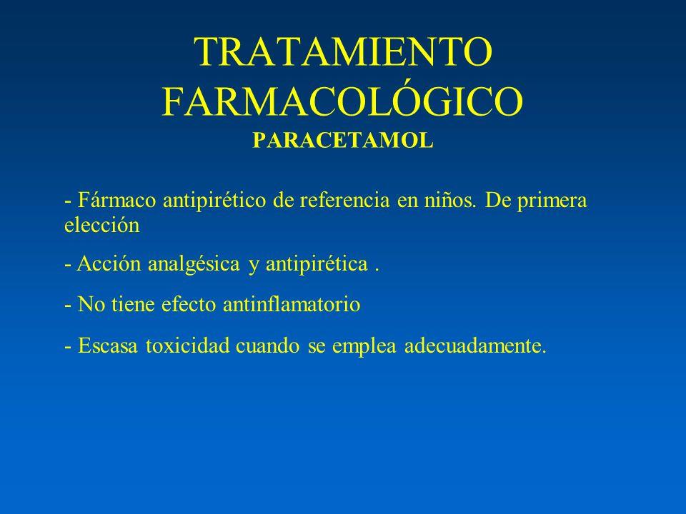 TRATAMIENTO FARMACOLÓGICO PARACETAMOL - Fármaco antipirético de referencia en niños. De primera elección - Acción analgésica y antipirética. - No tien