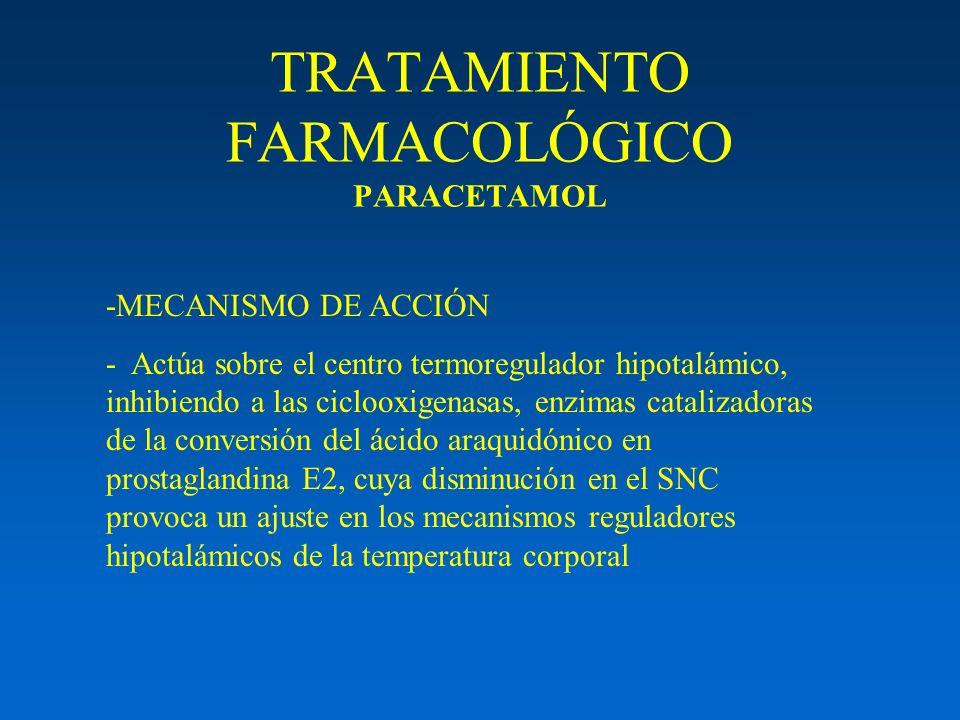 TRATAMIENTO FARMACOLÓGICO PARACETAMOL -MECANISMO DE ACCIÓN - Actúa sobre el centro termoregulador hipotalámico, inhibiendo a las ciclooxigenasas, enzi