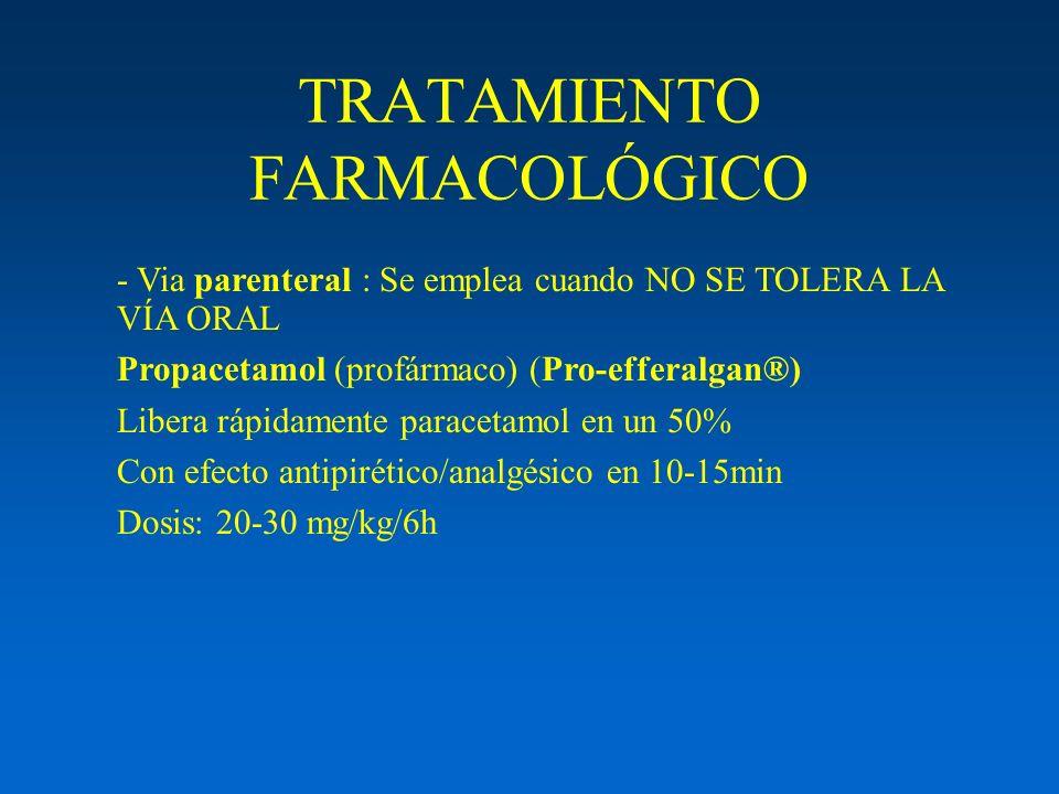 TRATAMIENTO FARMACOLÓGICO - Via parenteral : Se emplea cuando NO SE TOLERA LA VÍA ORAL Propacetamol (profármaco) (Pro-efferalgan®) Libera rápidamente