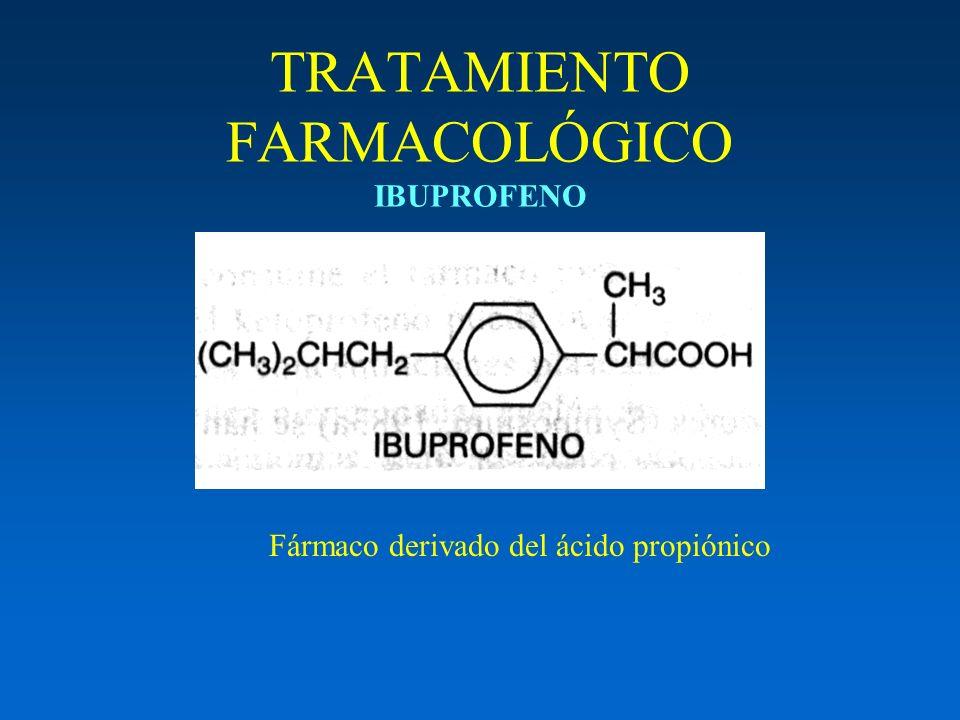 TRATAMIENTO FARMACOLÓGICO IBUPROFENO Fármaco derivado del ácido propiónico