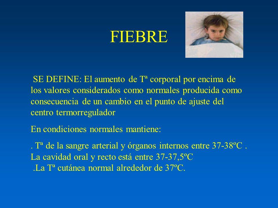FIEBRE SE DEFINE: El aumento de Tª corporal por encima de los valores considerados como normales producida como consecuencia de un cambio en el punto