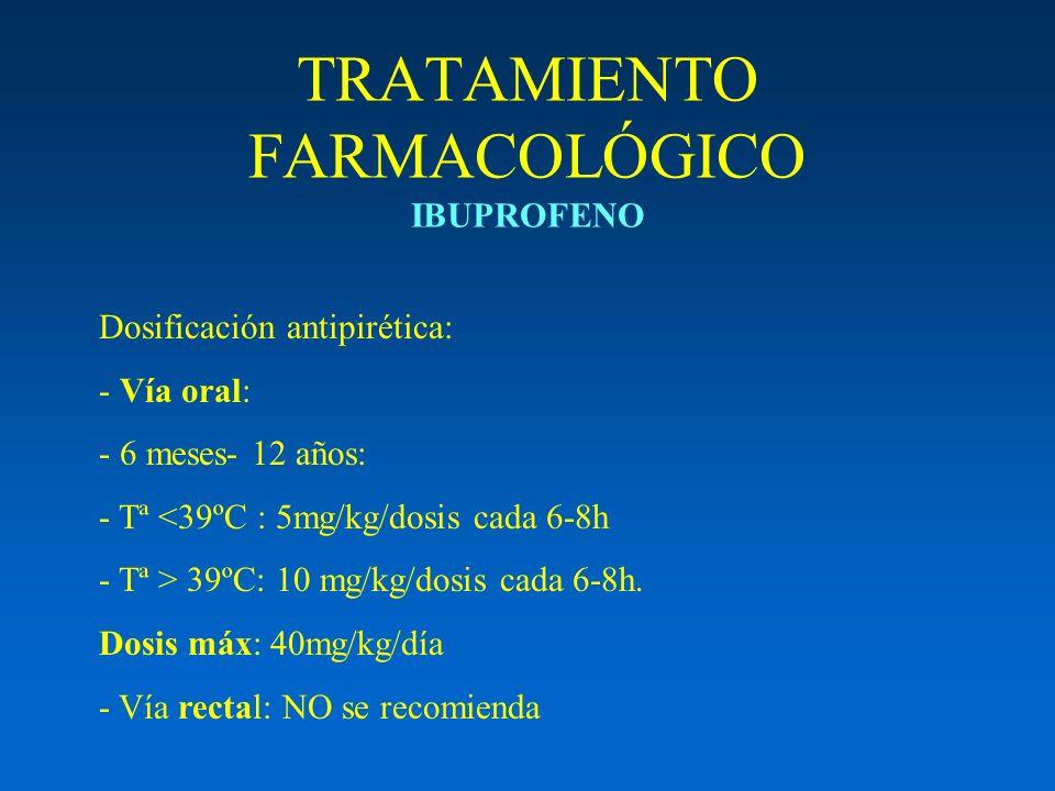TRATAMIENTO FARMACOLÓGICO IBUPROFENO Dosificación antipirética: - Vía oral: - 6 meses- 12 años: - Tª <39ºC : 5mg/kg/dosis cada 6-8h - Tª > 39ºC: 10 mg