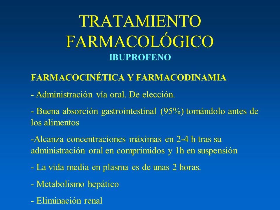 TRATAMIENTO FARMACOLÓGICO IBUPROFENO FARMACOCINÉTICA Y FARMACODINAMIA - Administración vía oral. De elección. - Buena absorción gastrointestinal (95%)