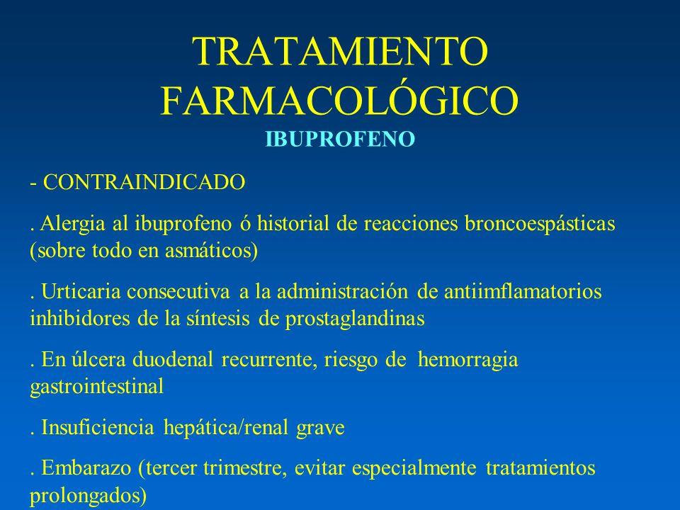 TRATAMIENTO FARMACOLÓGICO IBUPROFENO - CONTRAINDICADO. Alergia al ibuprofeno ó historial de reacciones broncoespásticas (sobre todo en asmáticos). Urt