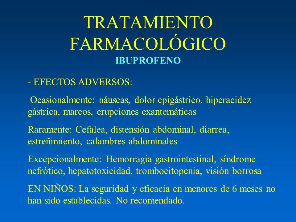 TRATAMIENTO FARMACOLÓGICO IBUPROFENO - EFECTOS ADVERSOS: Ocasionalmente: náuseas, dolor epigástrico, hiperacidez gástrica, mareos, erupciones exantemá