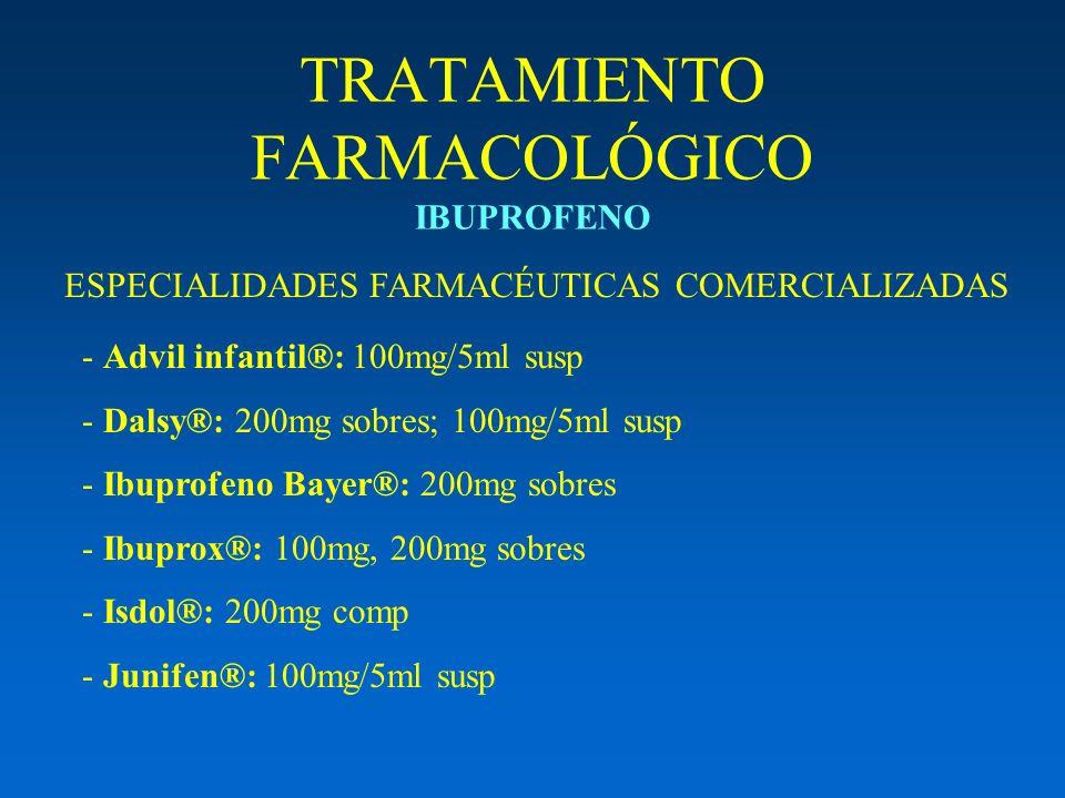 TRATAMIENTO FARMACOLÓGICO IBUPROFENO ESPECIALIDADES FARMACÉUTICAS COMERCIALIZADAS - Advil infantil®: 100mg/5ml susp - Dalsy®: 200mg sobres; 100mg/5ml