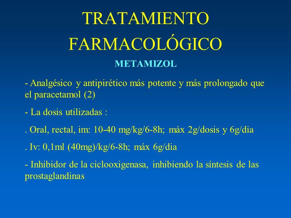 TRATAMIENTO FARMACOLÓGICO METAMIZOL - Analgésico y antipirético más potente y más prolongado que el paracetamol (2) - La dosis utilizadas :. Oral, rec