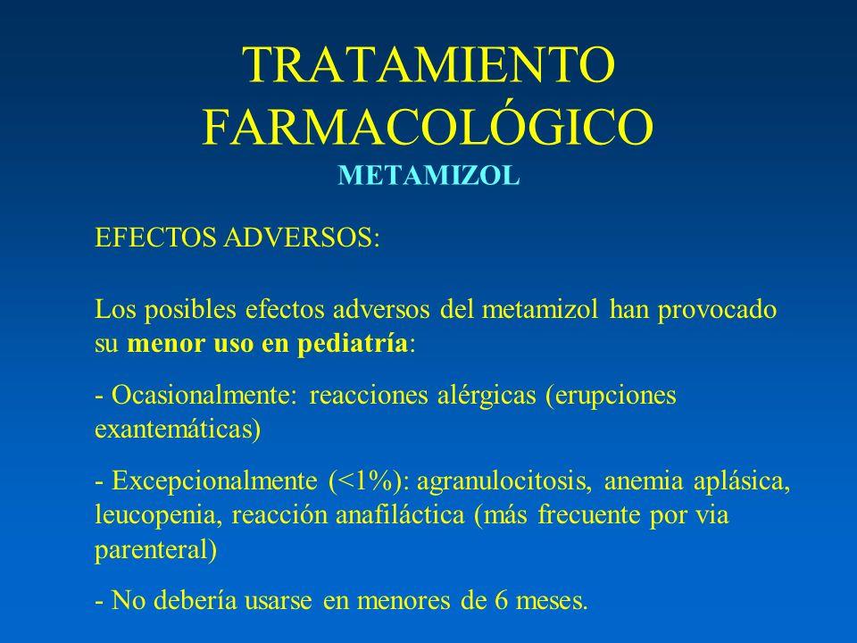 TRATAMIENTO FARMACOLÓGICO METAMIZOL Los posibles efectos adversos del metamizol han provocado su menor uso en pediatría: - Ocasionalmente: reacciones
