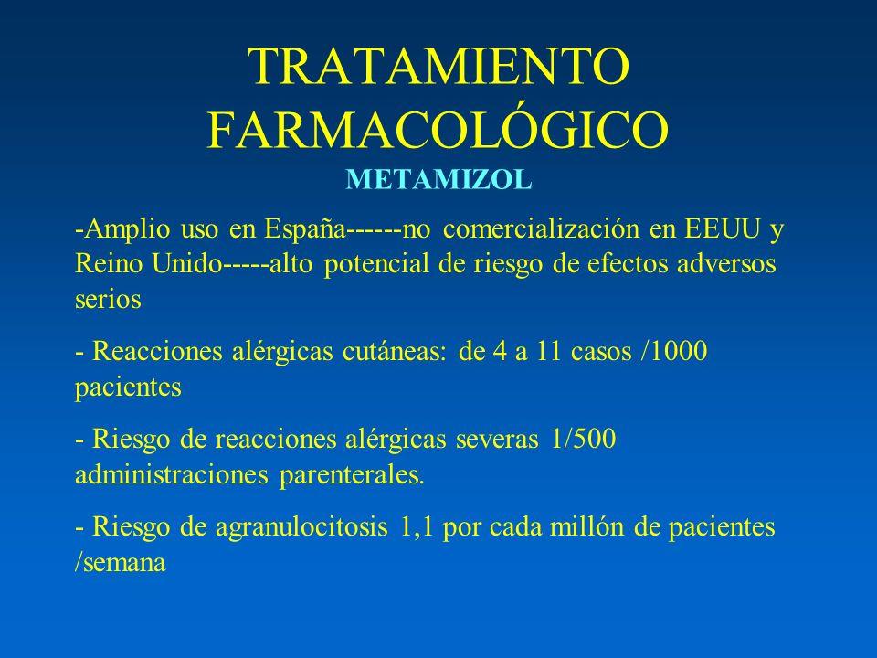 TRATAMIENTO FARMACOLÓGICO METAMIZOL -Amplio uso en España------no comercialización en EEUU y Reino Unido-----alto potencial de riesgo de efectos adver