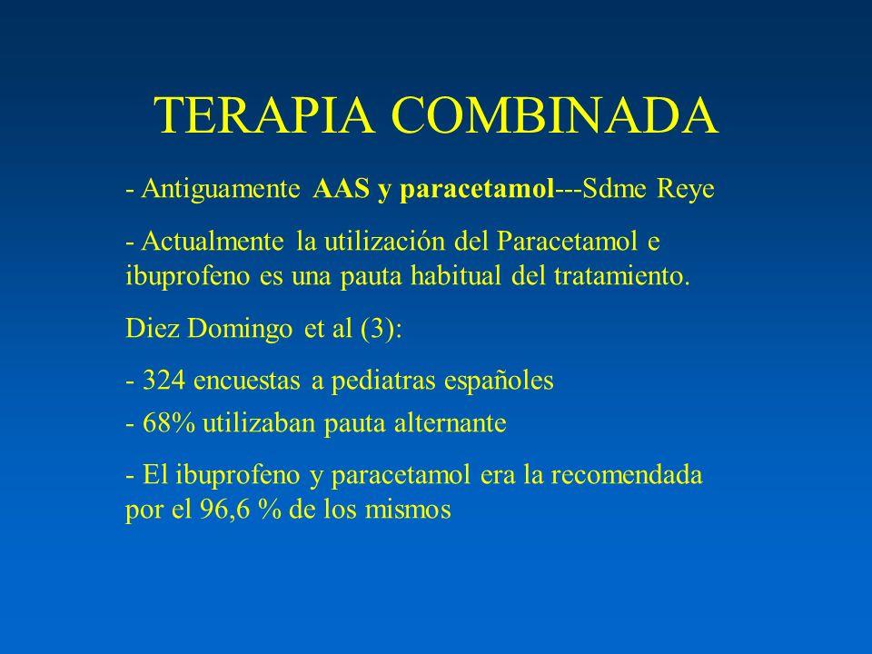 TERAPIA COMBINADA - Antiguamente AAS y paracetamol---Sdme Reye - Actualmente la utilización del Paracetamol e ibuprofeno es una pauta habitual del tra