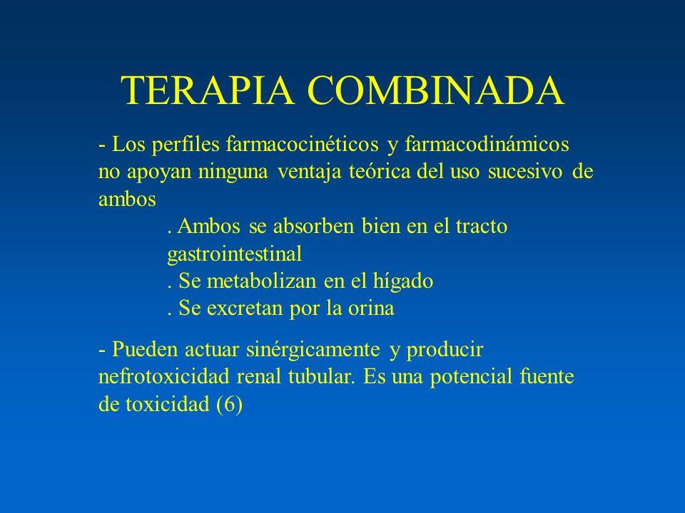 TERAPIA COMBINADA - Los perfiles farmacocinéticos y farmacodinámicos no apoyan ninguna ventaja teórica del uso sucesivo de ambos. Ambos se absorben bi