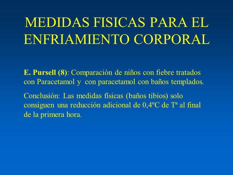 MEDIDAS FISICAS PARA EL ENFRIAMIENTO CORPORAL E. Pursell (8): Comparación de niños con fiebre tratados con Paracetamol y con paracetamol con baños tem