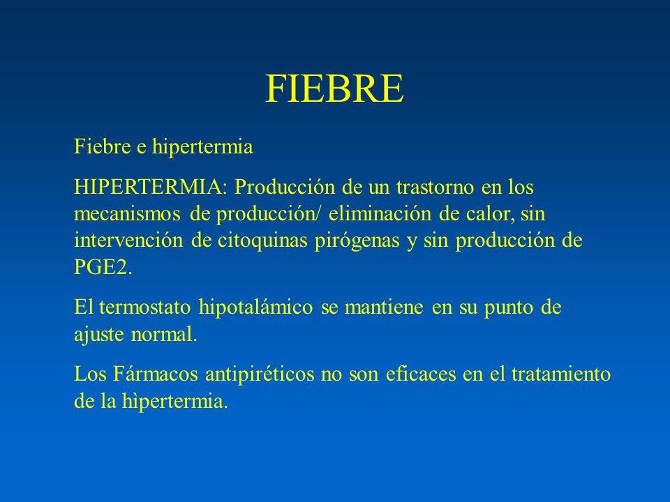 FIEBRE Fiebre e hipertermia HIPERTERMIA: Producción de un trastorno en los mecanismos de producción/ eliminación de calor, sin intervención de citoqui
