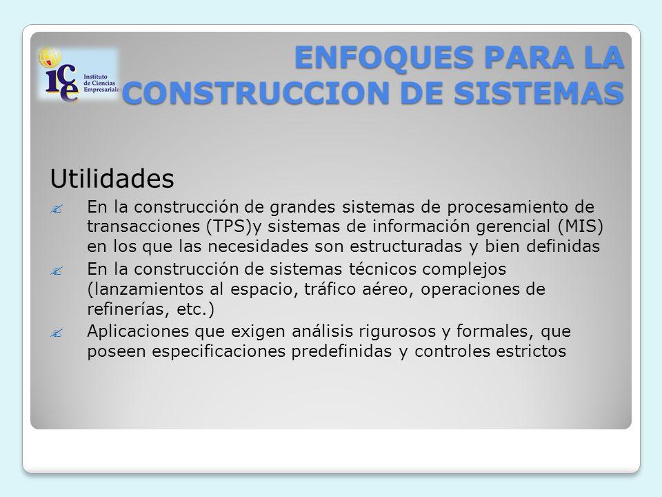 ENFOQUES PARA LA CONSTRUCCION DE SISTEMAS Utilidades En la construcción de grandes sistemas de procesamiento de transacciones (TPS)y sistemas de infor
