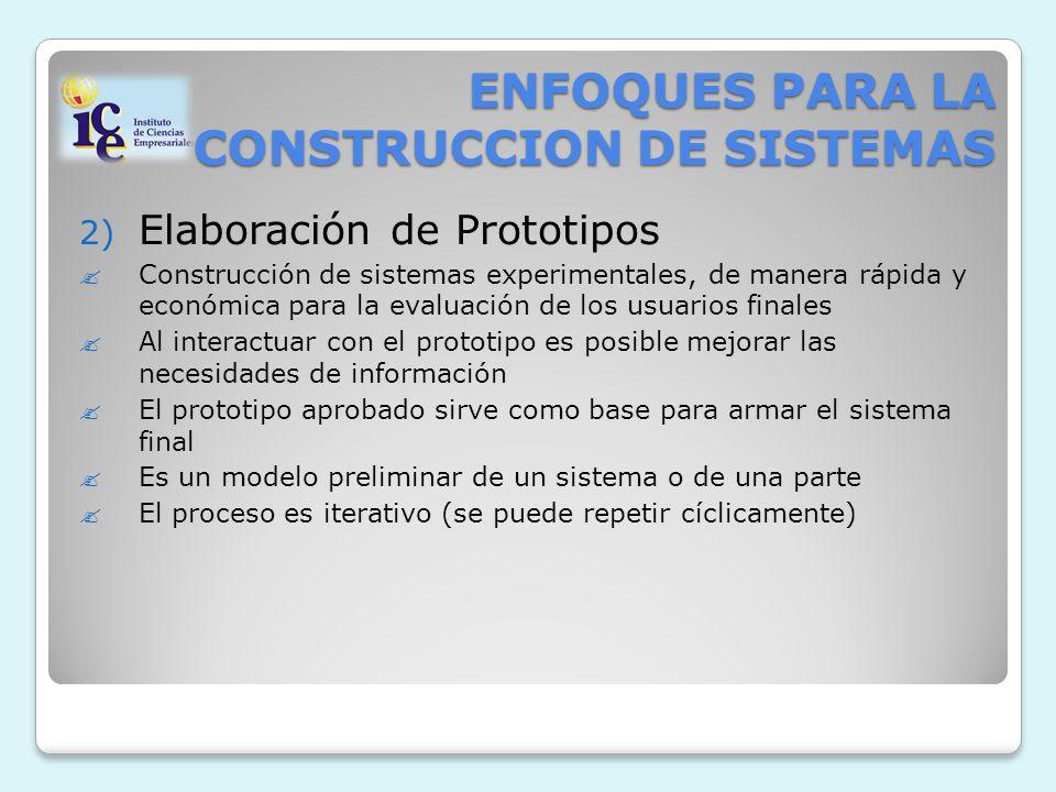 ENFOQUES PARA LA CONSTRUCCION DE SISTEMAS 2) Elaboración de Prototipos Construcción de sistemas experimentales, de manera rápida y económica para la e