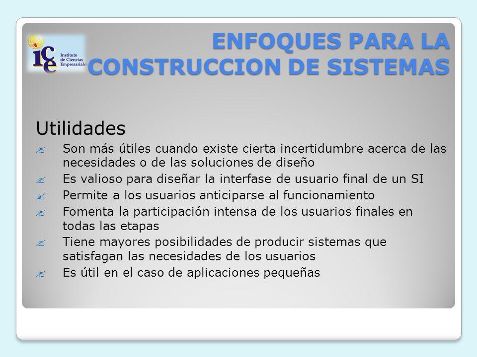 ENFOQUES PARA LA CONSTRUCCION DE SISTEMAS Utilidades Son más útiles cuando existe cierta incertidumbre acerca de las necesidades o de las soluciones d