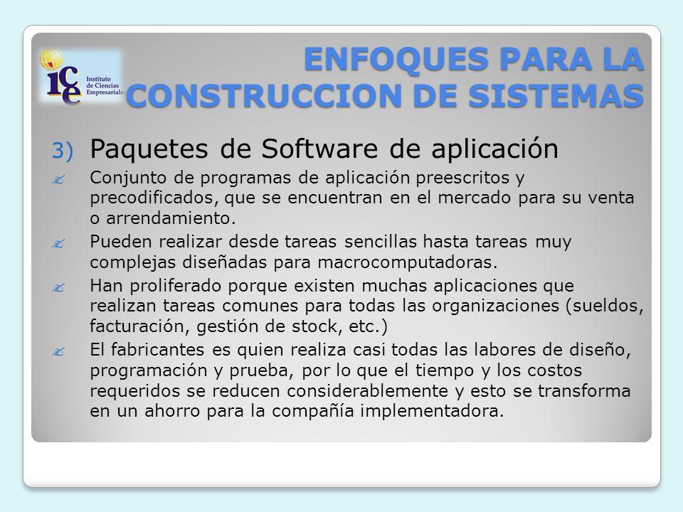 ENFOQUES PARA LA CONSTRUCCION DE SISTEMAS 3) Paquetes de Software de aplicación Conjunto de programas de aplicación preescritos y precodificados, que se encuentran en el mercado para su venta o arrendamiento.