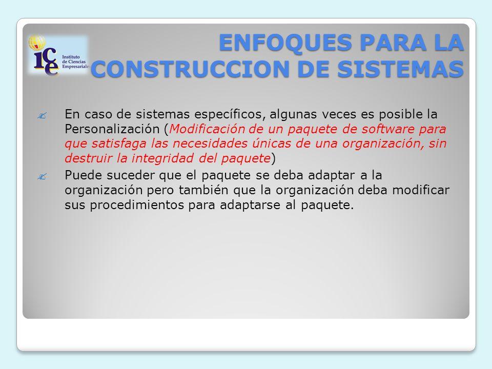 ENFOQUES PARA LA CONSTRUCCION DE SISTEMAS En caso de sistemas específicos, algunas veces es posible la Personalización (Modificación de un paquete de