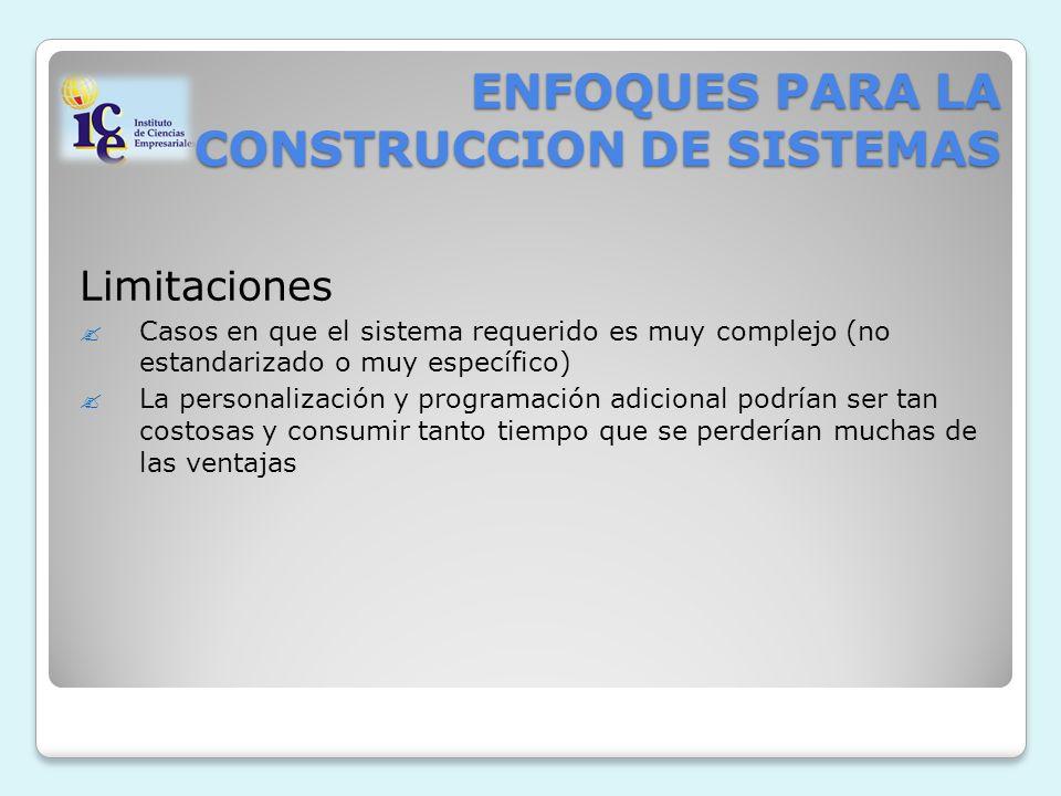 ENFOQUES PARA LA CONSTRUCCION DE SISTEMAS Limitaciones Casos en que el sistema requerido es muy complejo (no estandarizado o muy específico) La person