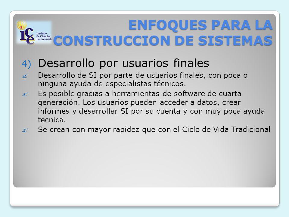 ENFOQUES PARA LA CONSTRUCCION DE SISTEMAS 4) Desarrollo por usuarios finales Desarrollo de SI por parte de usuarios finales, con poca o ninguna ayuda de especialistas técnicos.