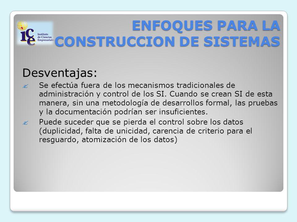 ENFOQUES PARA LA CONSTRUCCION DE SISTEMAS Desventajas: Se efectúa fuera de los mecanismos tradicionales de administración y control de los SI. Cuando