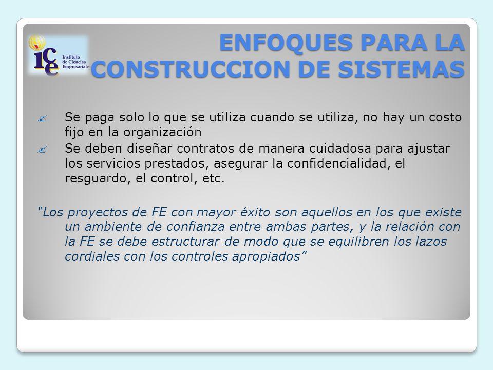 ENFOQUES PARA LA CONSTRUCCION DE SISTEMAS Se paga solo lo que se utiliza cuando se utiliza, no hay un costo fijo en la organización Se deben diseñar c