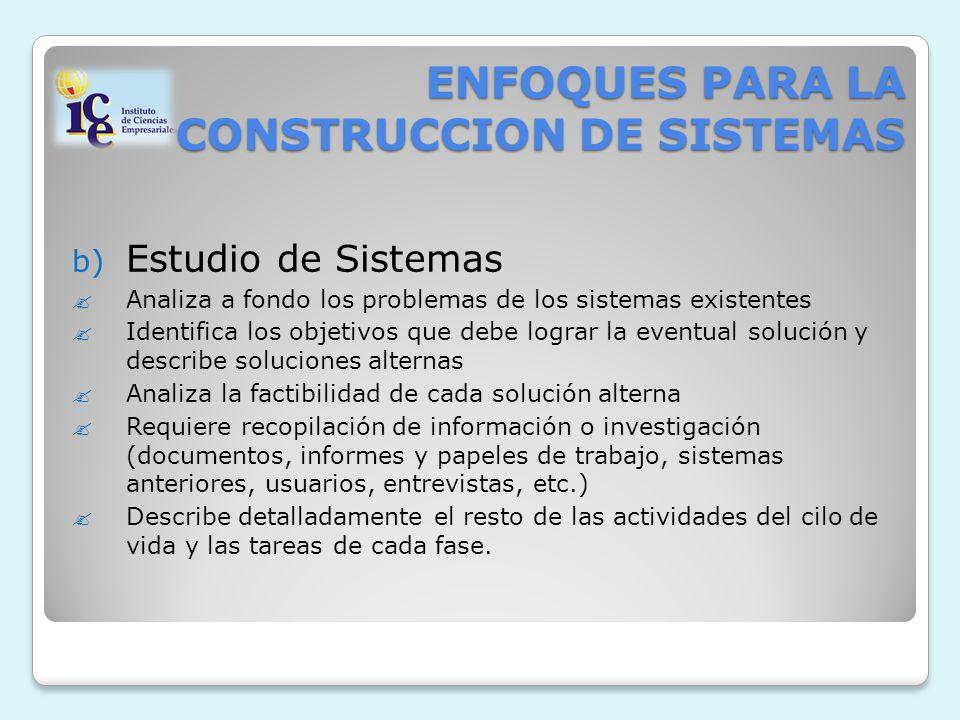 ENFOQUES PARA LA CONSTRUCCION DE SISTEMAS b) Estudio de Sistemas Analiza a fondo los problemas de los sistemas existentes Identifica los objetivos que