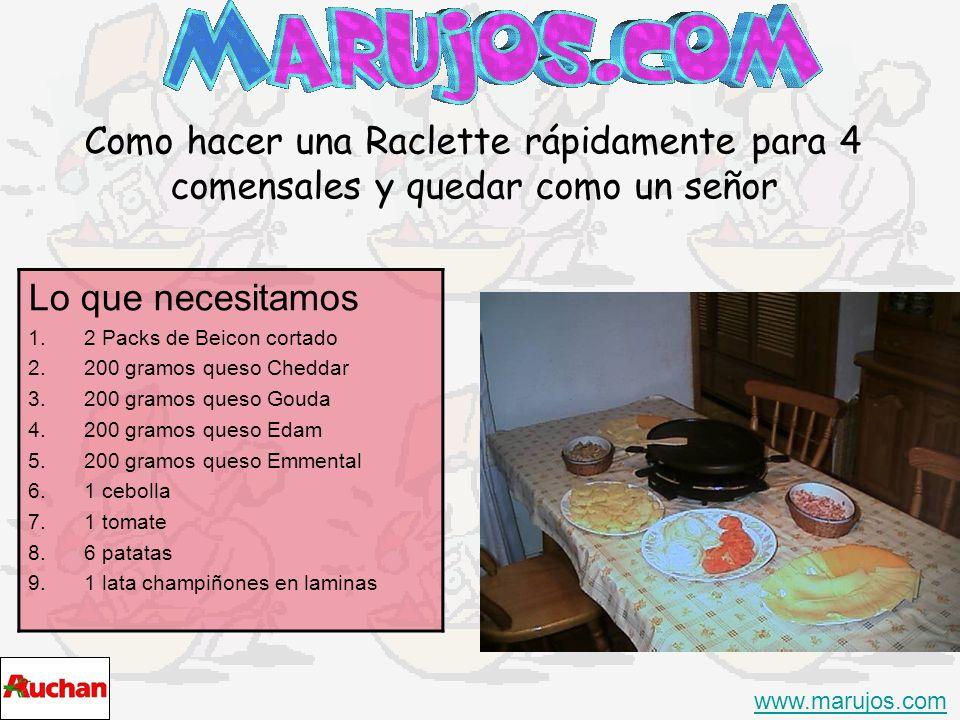 Como hacer una Raclette rápidamente para 4 comensales y quedar como un señor www.marujos.com Lo que necesitamos 1.2 Packs de Beicon cortado 2.200 gram