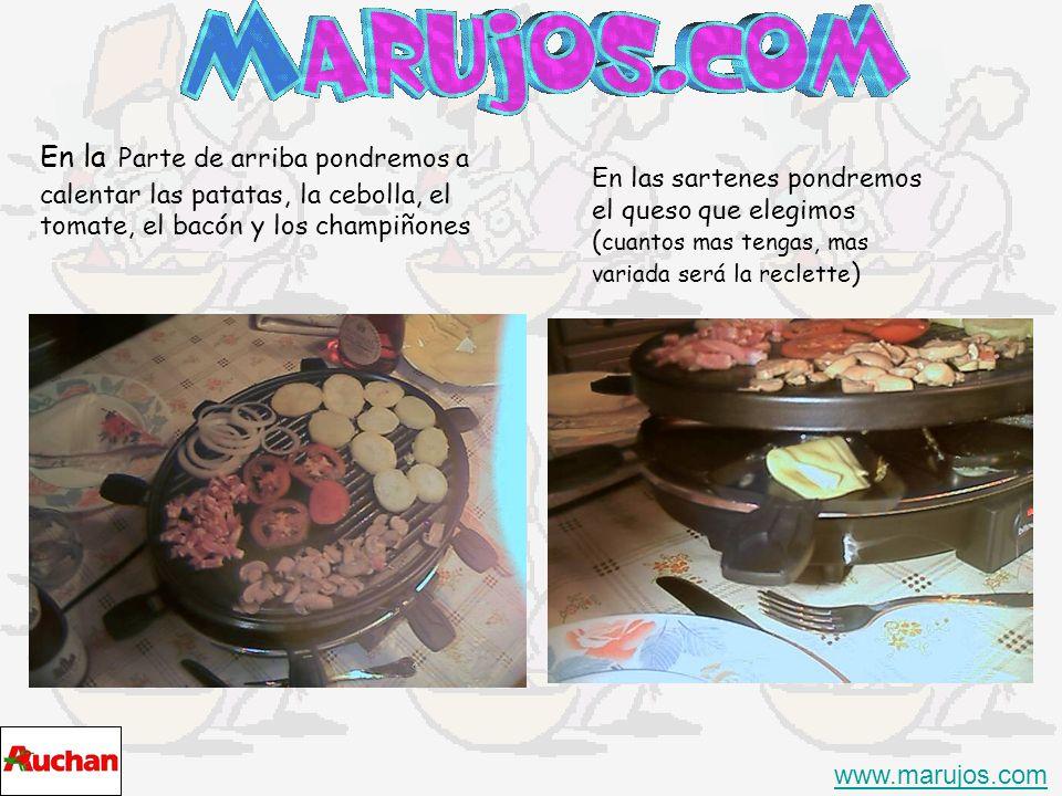 En la Parte de arriba pondremos a calentar las patatas, la cebolla, el tomate, el bacón y los champiñones www.marujos.com En las sartenes pondremos el