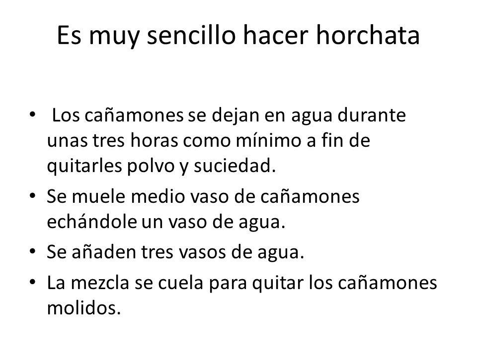 Es muy sencillo hacer horchata Los cañamones se dejan en agua durante unas tres horas como mínimo a fin de quitarles polvo y suciedad.