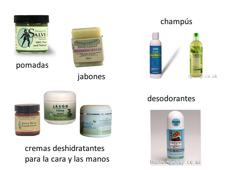 champús desodorantes cremas deshidratantes para la cara y las manos pomadas jabones