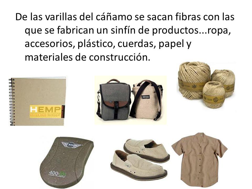 De las varillas del cáñamo se sacan fibras con las que se fabrican un sinfín de productos...ropa, accesorios, plástico, cuerdas, papel y materiales de construcción.