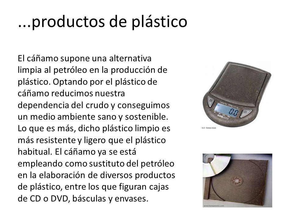 ...productos de plástico El cáñamo supone una alternativa limpia al petróleo en la producción de plástico.