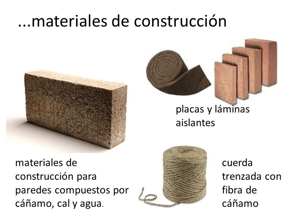 ...materiales de construcción placas y láminas aislantes materiales de construcción para paredes compuestos por cáñamo, cal y agua.