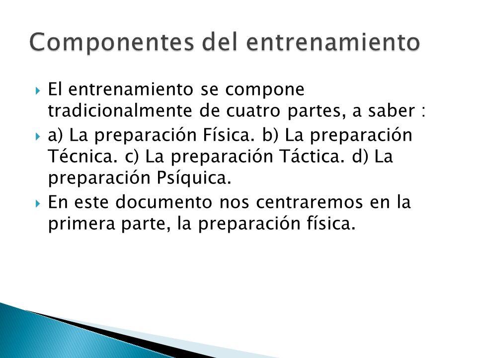 El entrenamiento se compone tradicionalmente de cuatro partes, a saber : a) La preparación Física. b) La preparación Técnica. c) La preparación Táctic
