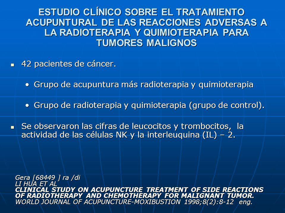 ESTUDIO CLÍNICO SOBRE EL TRATAMIENTO ACUPUNTURAL DE LAS REACCIONES ADVERSAS A LA RADIOTERAPIA Y QUIMIOTERAPIA PARA TUMORES MALIGNOS 42 pacientes de cá