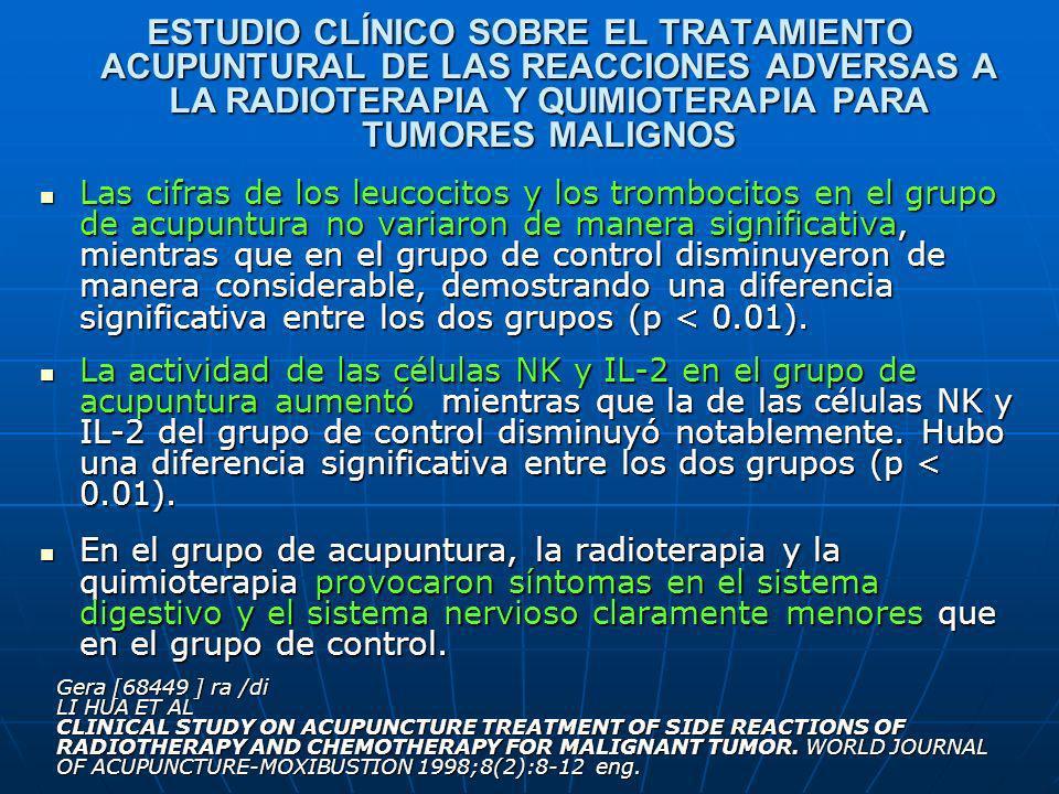 ESTUDIO CLÍNICO SOBRE EL TRATAMIENTO ACUPUNTURAL DE LAS REACCIONES ADVERSAS A LA RADIOTERAPIA Y QUIMIOTERAPIA PARA TUMORES MALIGNOS Las cifras de los