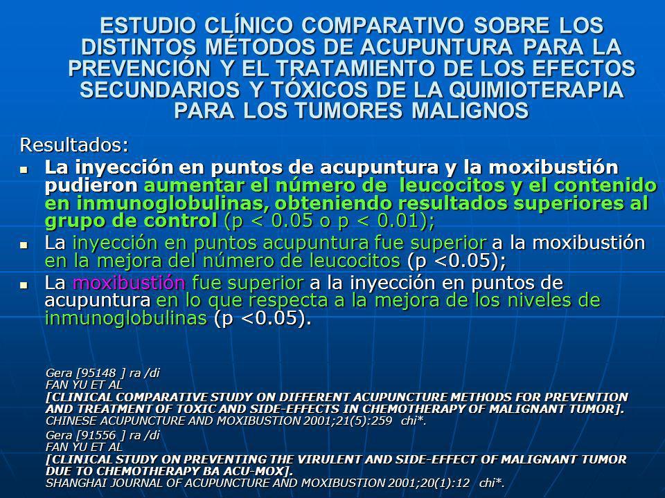 ESTUDIO CLÍNICO COMPARATIVO SOBRE LOS DISTINTOS MÉTODOS DE ACUPUNTURA PARA LA PREVENCIÓN Y EL TRATAMIENTO DE LOS EFECTOS SECUNDARIOS Y TÓXICOS DE LA Q