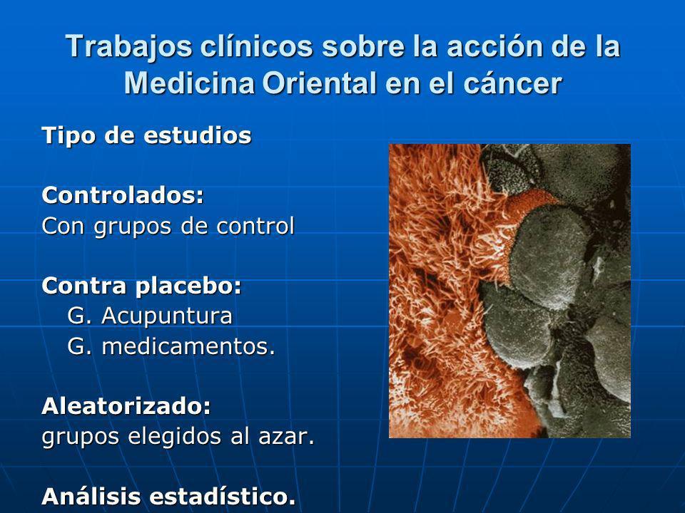 Trabajos clínicos sobre la acción de la Medicina Oriental en el cáncer Tipo de estudios Controlados: Con grupos de control Contra placebo: G. Acupuntu