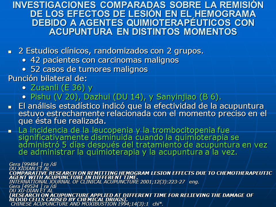 INVESTIGACIONES COMPARADAS SOBRE LA REMISIÓN DE LOS EFECTOS DE LESIÓN EN EL HEMOGRAMA DEBIDO A AGENTES QUIMIOTERAPÉUTICOS CON ACUPUNTURA EN DISTINTOS