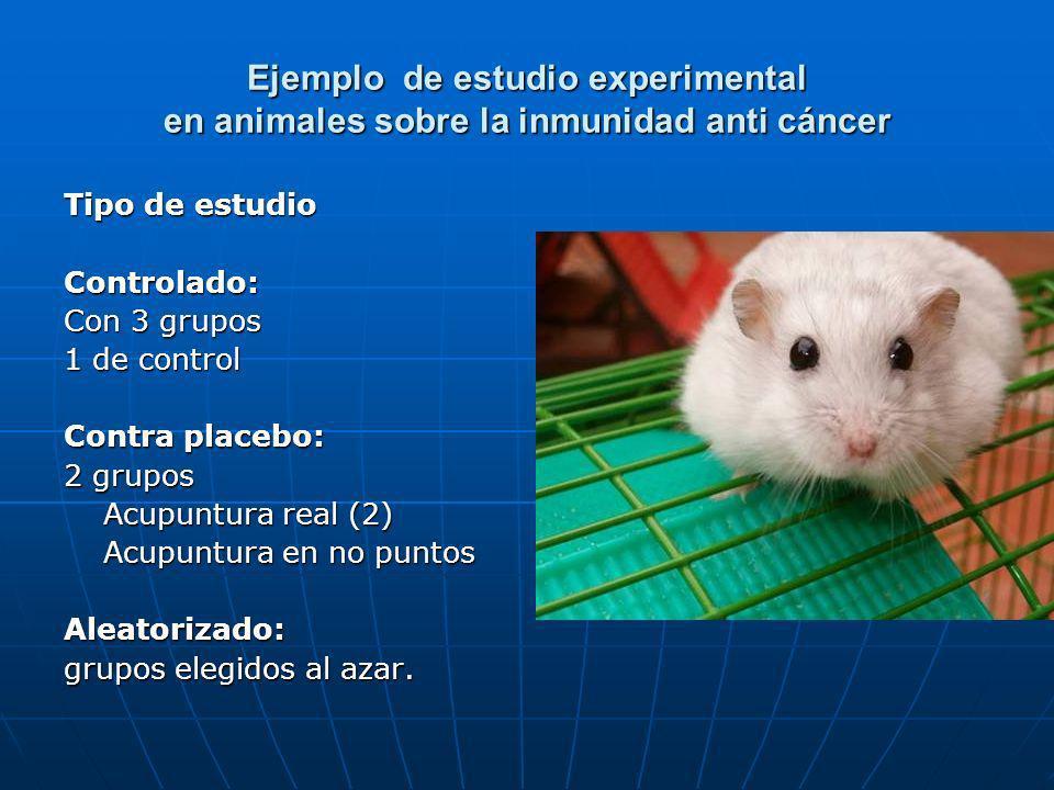 Ejemplo de estudio experimental en animales sobre la inmunidad anti cáncer Tipo de estudio Controlado: Con 3 grupos 1 de control Contra placebo: 2 gru