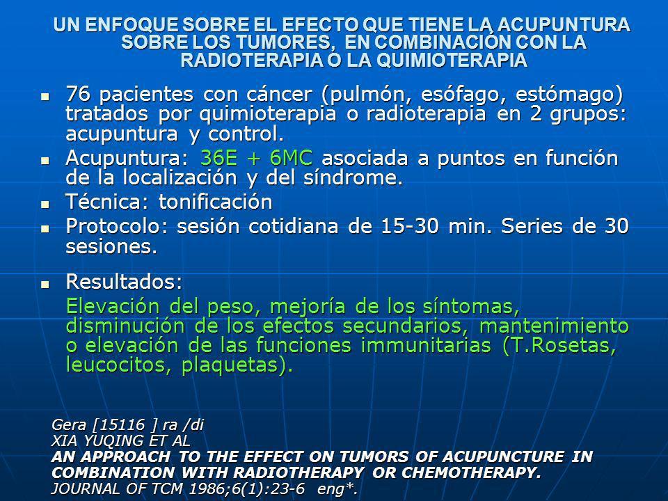UN ENFOQUE SOBRE EL EFECTO QUE TIENE LA ACUPUNTURA SOBRE LOS TUMORES, EN COMBINACIÓN CON LA RADIOTERAPIA O LA QUIMIOTERAPIA 76 pacientes con cáncer (p