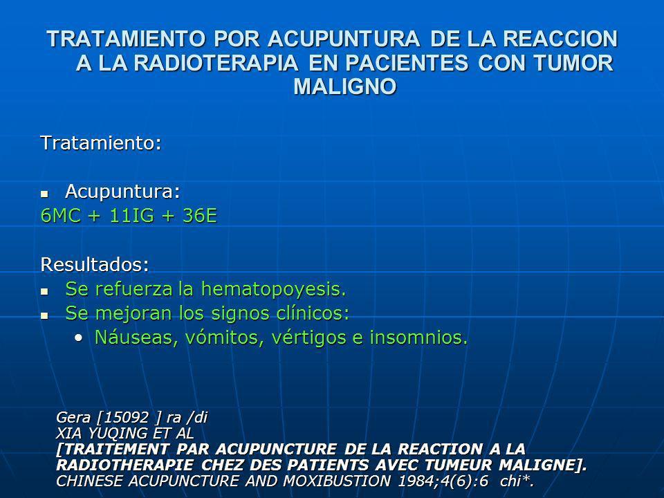 TRATAMIENTO POR ACUPUNTURA DE LA REACCION A LA RADIOTERAPIA EN PACIENTES CON TUMOR MALIGNO Tratamiento: Acupuntura: Acupuntura: 6MC + 11IG + 36E Resul