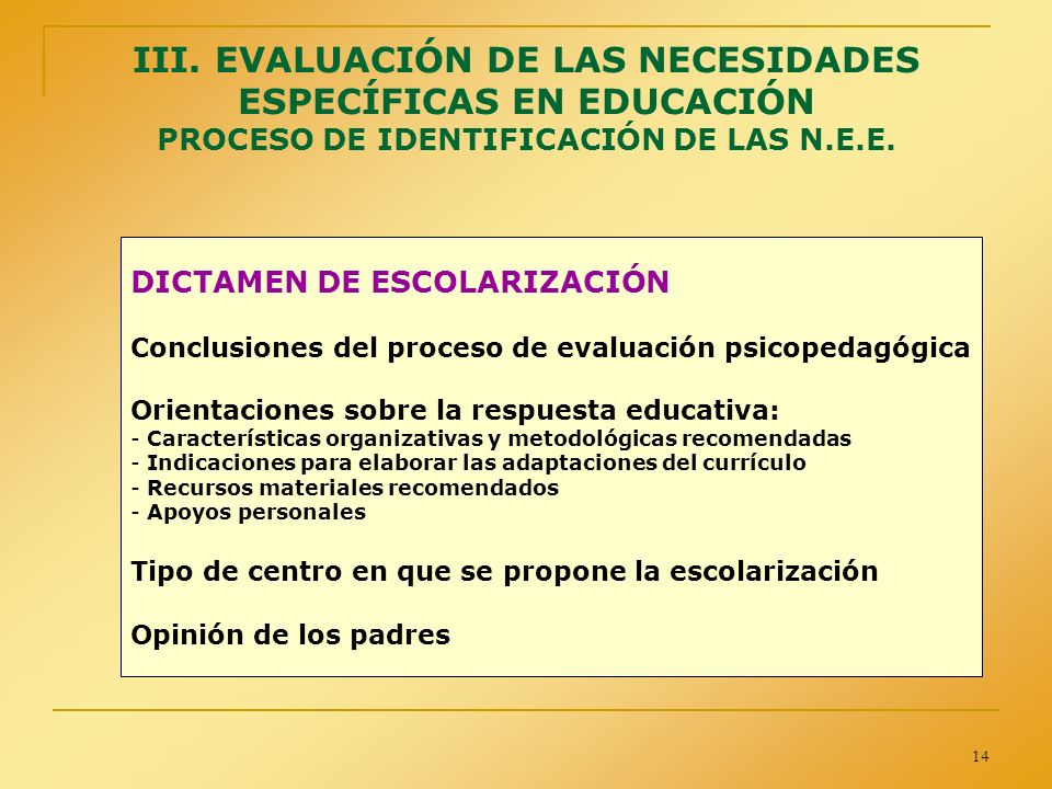 14 III. EVALUACIÓN DE LAS NECESIDADES ESPECÍFICAS EN EDUCACIÓN PROCESO DE IDENTIFICACIÓN DE LAS N.E.E. DICTAMEN DE ESCOLARIZACIÓN Conclusiones del pro
