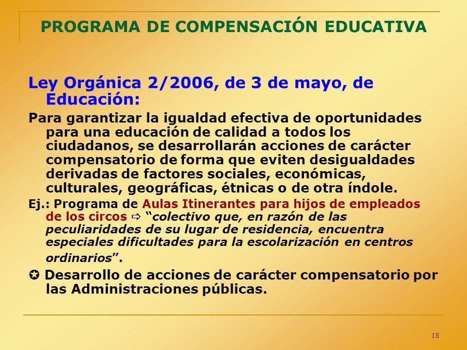 18 PROGRAMA DE COMPENSACIÓN EDUCATIVA Ley Orgánica 2/2006, de 3 de mayo, de Educación: Para garantizar la igualdad efectiva de oportunidades para una