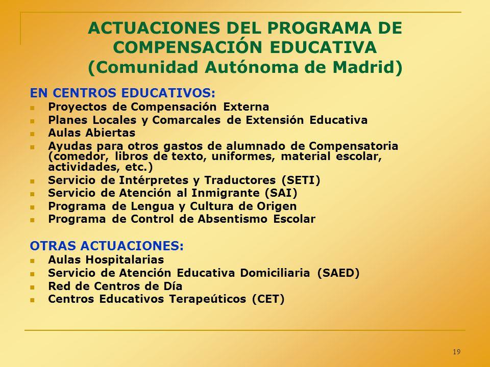 19 ACTUACIONES DEL PROGRAMA DE COMPENSACIÓN EDUCATIVA (Comunidad Autónoma de Madrid) EN CENTROS EDUCATIVOS: Proyectos de Compensación Externa Planes L