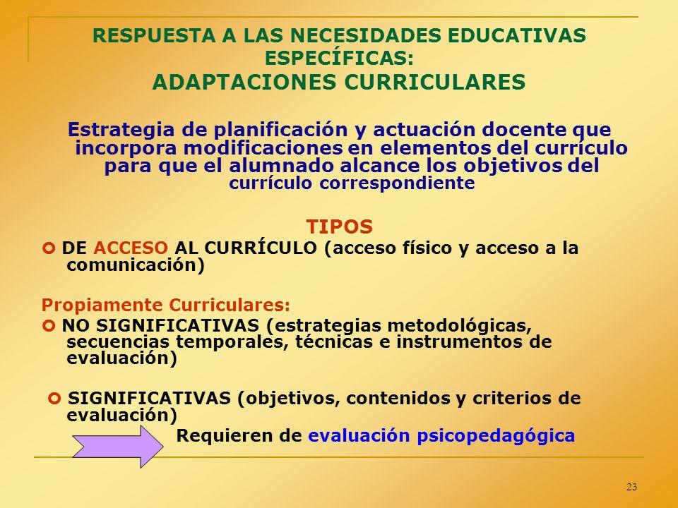 23 RESPUESTA A LAS NECESIDADES EDUCATIVAS ESPECÍFICAS: ADAPTACIONES CURRICULARES Estrategia de planificación y actuación docente que incorpora modific