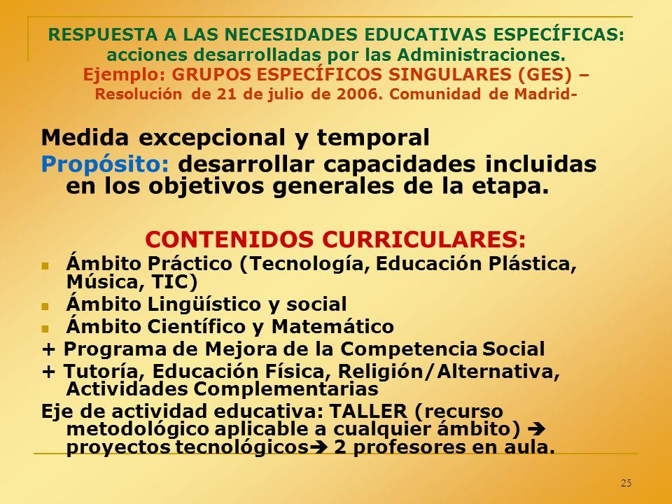 25 RESPUESTA A LAS NECESIDADES EDUCATIVAS ESPECÍFICAS: acciones desarrolladas por las Administraciones. Ejemplo: GRUPOS ESPECÍFICOS SINGULARES (GES) –