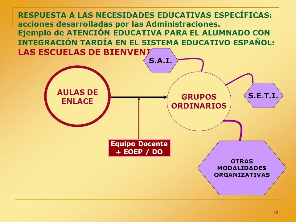 28 RESPUESTA A LAS NECESIDADES EDUCATIVAS ESPECÍFICAS: acciones desarrolladas por las Administraciones. Ejemplo de ATENCIÓN EDUCATIVA PARA EL ALUMNADO